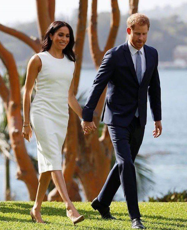 英國哈利王子與妻子梅根16日到澳洲塔龍加動物園。取自hrhduchessofsu...