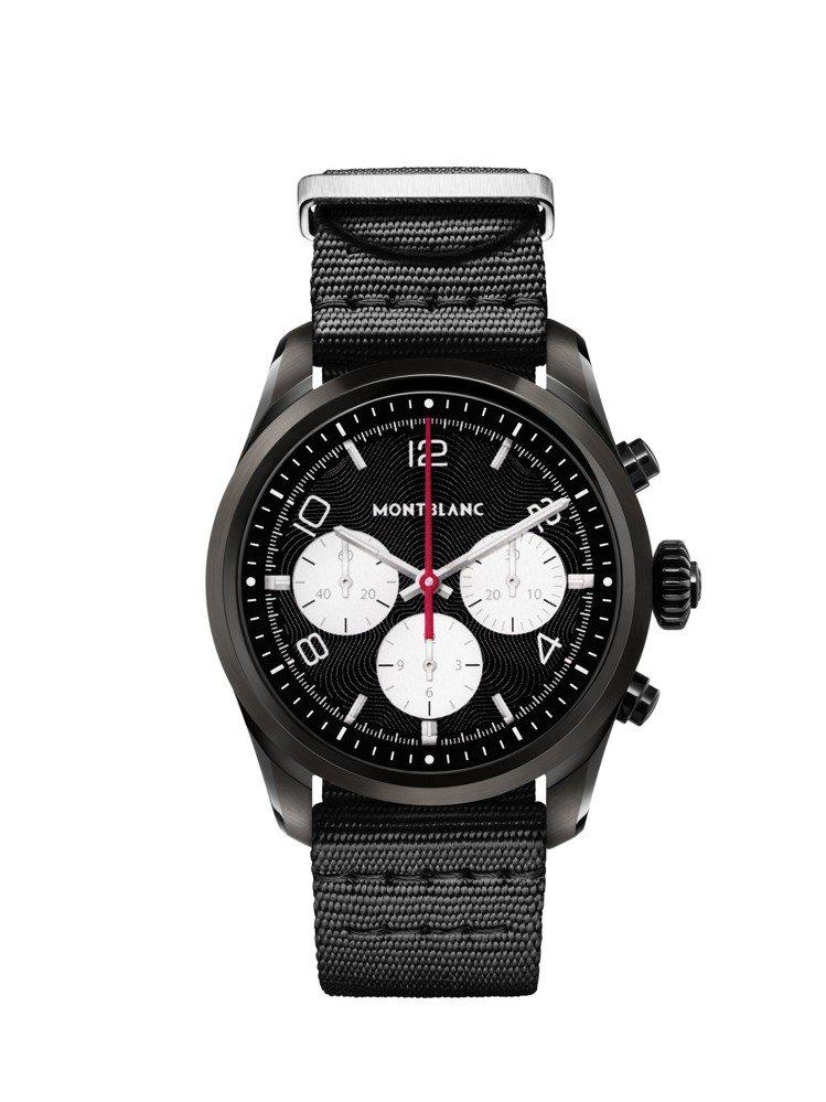 萬寶龍Summit 2智能腕表,黑色DLC表殼搭配黑色尼龍表帶,33,000元。...