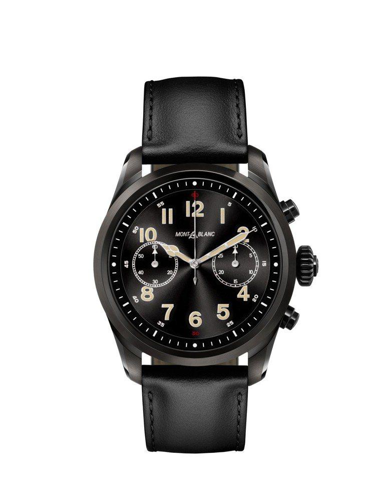 萬寶龍Summit 2智能腕表,黑色DLC表殼搭配黑色小牛皮表帶,33,000元...