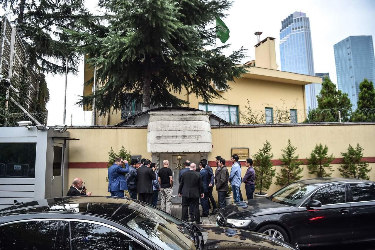 沙國代表團16日先土國調查小組進入沙國位於土國伊斯坦堡的領事館。法新社