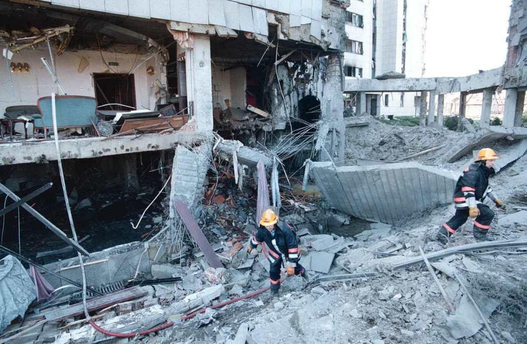 大陸駐貝爾格勒大使館1999年遭美國轟炸機炸毀。(美聯社)