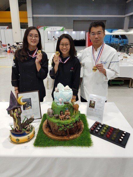 景文科大在烘焙類組獲得3面金牌。