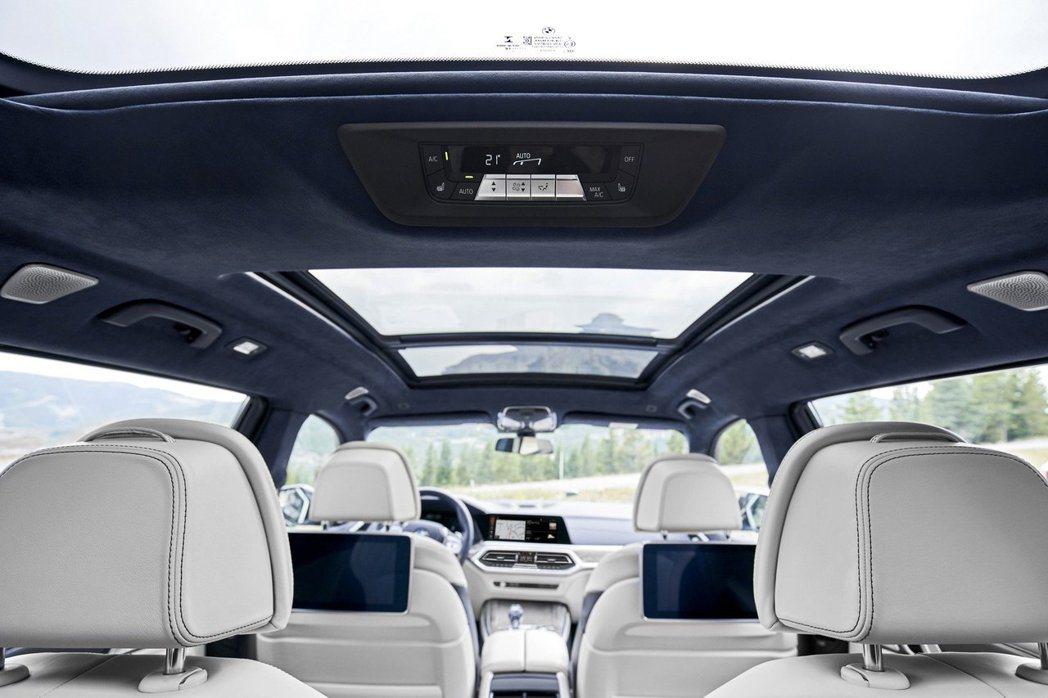 方便第三排座椅乘客調整空調的控制面板。 摘自BMW