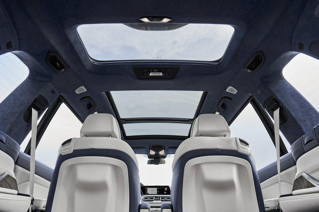 全新BMW X7配置大型全景天窗。 摘自BMW