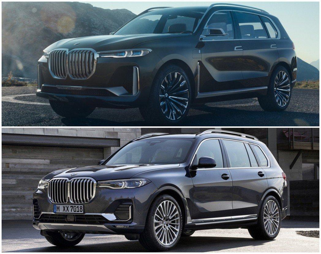 圖上為BMW Concept X7 iPerformance,圖下為全新BMW X7。 摘自BMW