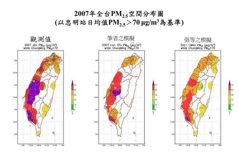圖3/比較張及我模擬2007年中雲高汙染情境──所有台中忠明站PM2.5> 70...
