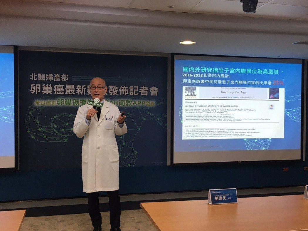 北醫婦產部主任劉偉民表示,子宮內膜異位症與卵巢癌之間有著高度關聯性,兩成五卵巢癌...