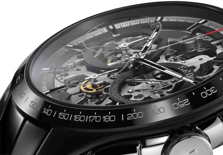 雷達表首次皓星系列中,推出鏤空表盤設計腕表,讓計時機芯的夾板、結構都能一覽無遺,...