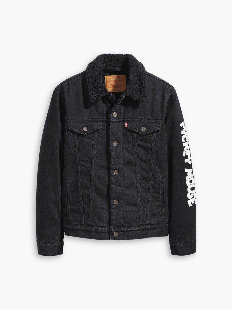 LEVI'S與米奇聯名系列男款毛領丹寧夾克,5,290元。圖/LEVI'S提供