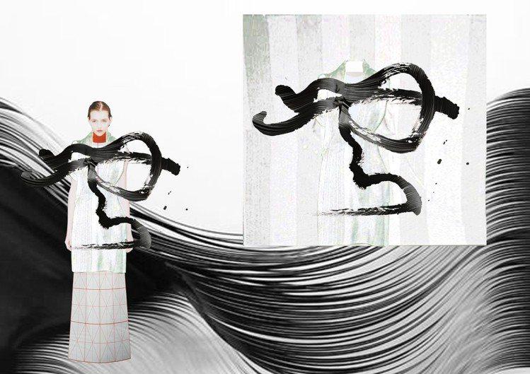 「讀衣III」時尚藝術跨界展-設計師周裕穎手稿。圖/團團提供