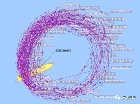 「飛馬峰號」在大連港外轉圈漂泊了一個月。 圖/取自觀察者網