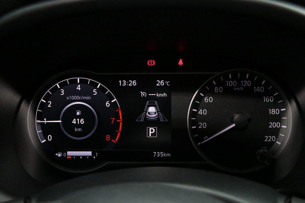 右方為傳統的指針式時速表,7吋數位液晶儀錶板可以顯示轉速、油耗、行車資訊、智行科技及水箱溫度。 記者陳威任/攝影