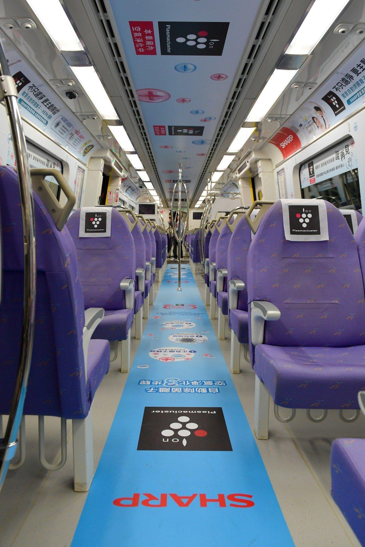 台灣夏普於每天發出共約20個班次直達列車第二節車廂的空調出風口安裝自動除菌離子模...