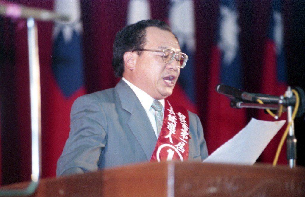 1994年,台北市長選舉公辦政見會,候選人紀榮治發表政見。 圖/聯合報系資料照片
