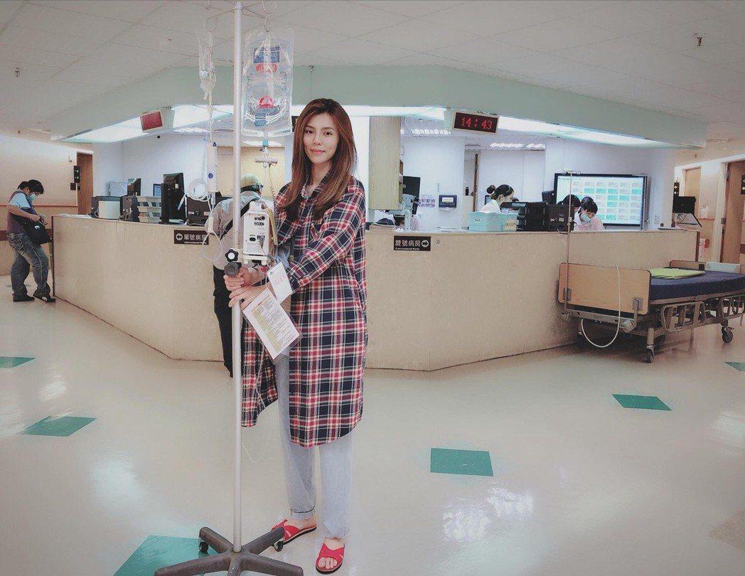 張懷媗近日到醫院動縮腸手術,解決困擾已久的便秘問題。圖/摘自臉書