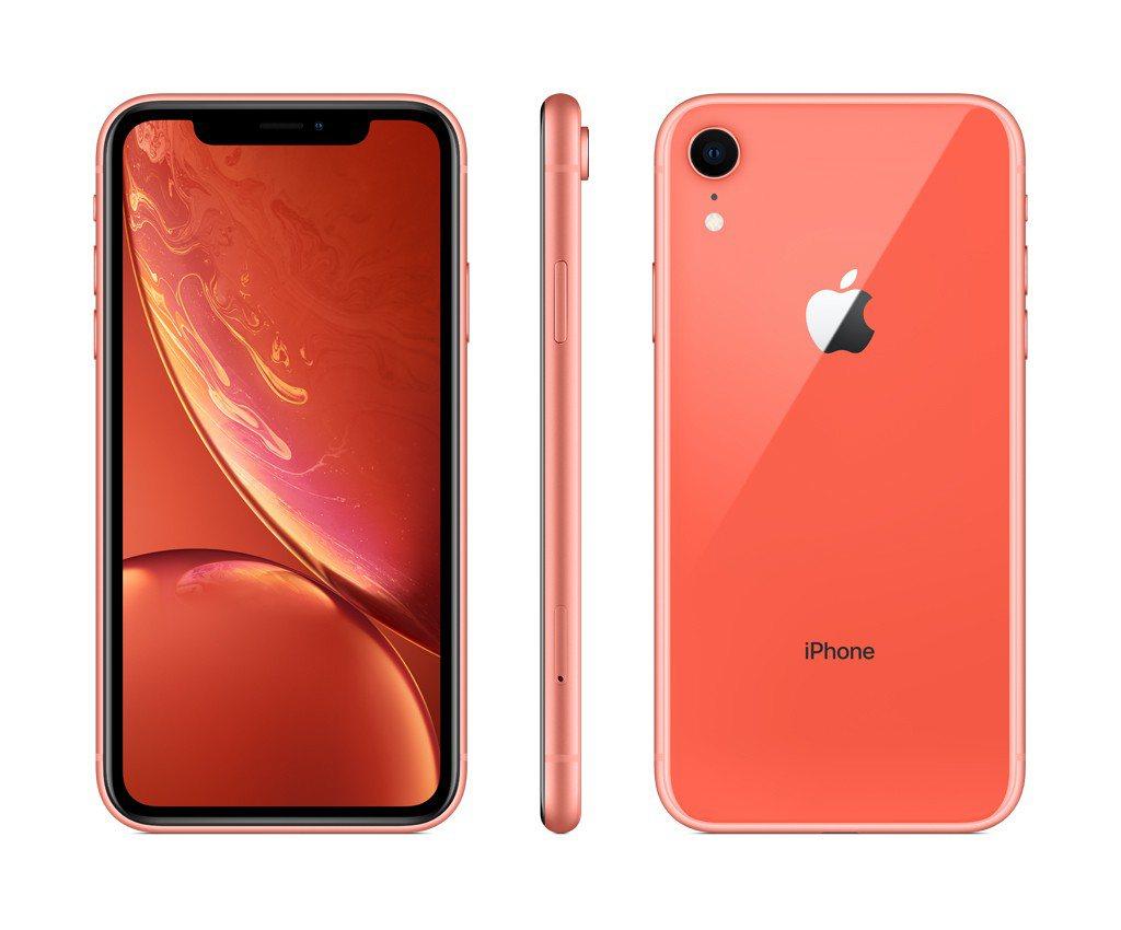 iPhone XR系列共推出藍、白、黑、黃、紅、珊瑚等6款新色。圖/台灣大哥大提...