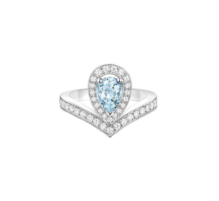 Joséphine Aigrette 18K白金海藍寶石戒指,22萬8000元...