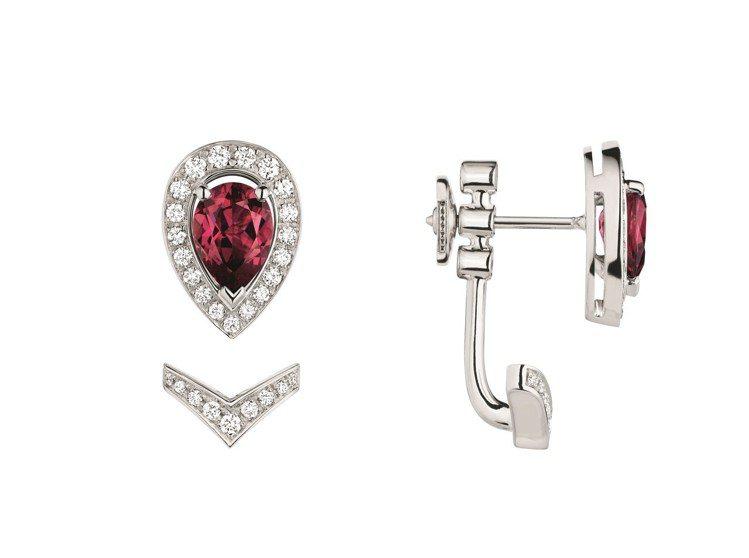Joséphine Aigrette 18K白金玫瑰榴石耳環(單只),12萬元...