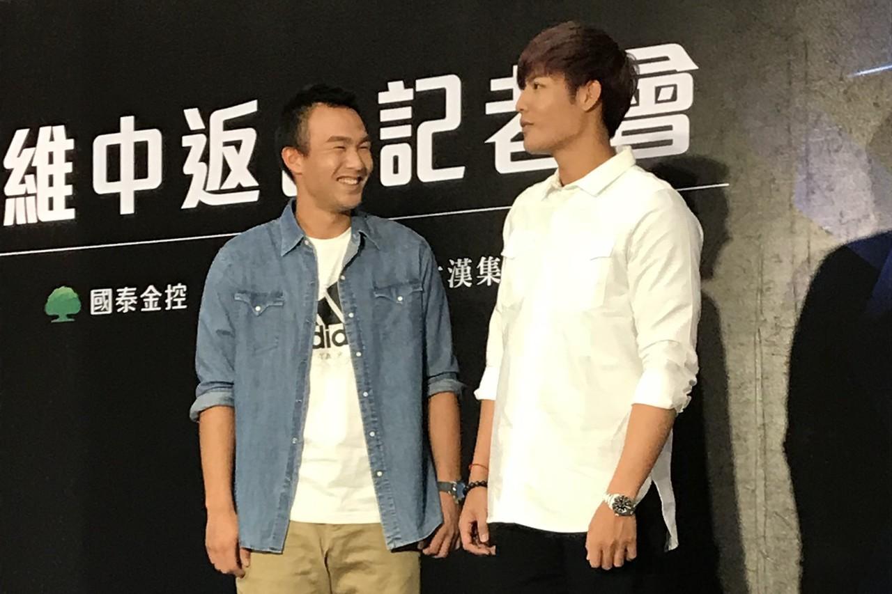王維中返台記者會上,好友曾仁和現身站台。記者陳宛晶/攝影