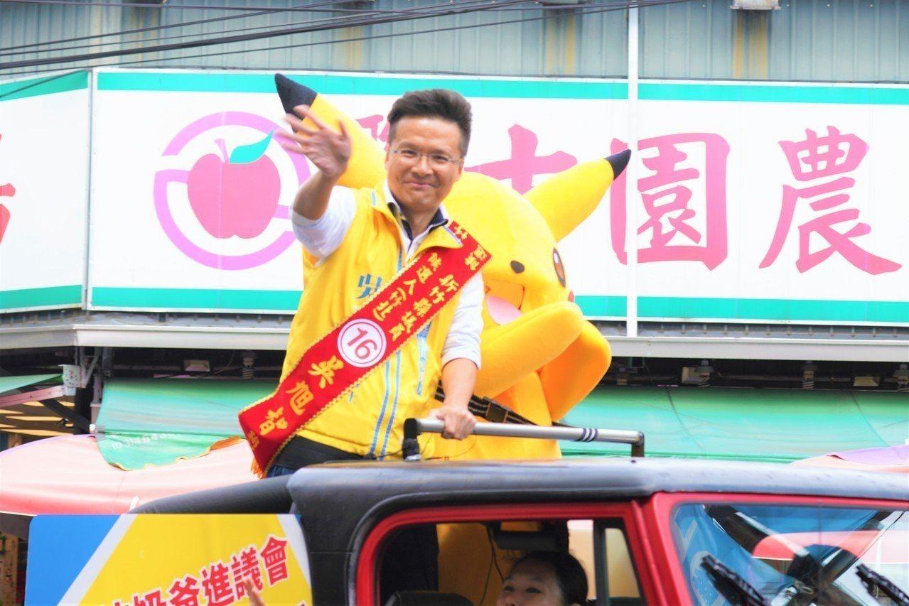 紅色吉普車載著吳旭智(左)及皮卡丘造型人偶沿街向民眾問好,強化選民印象。圖/吳旭...