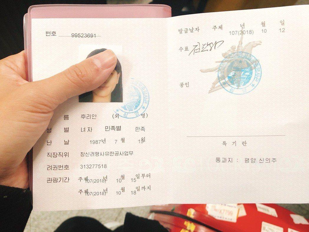 進入北韓的簽證,不會在護照上留下紀錄。記者侯俐安/攝影