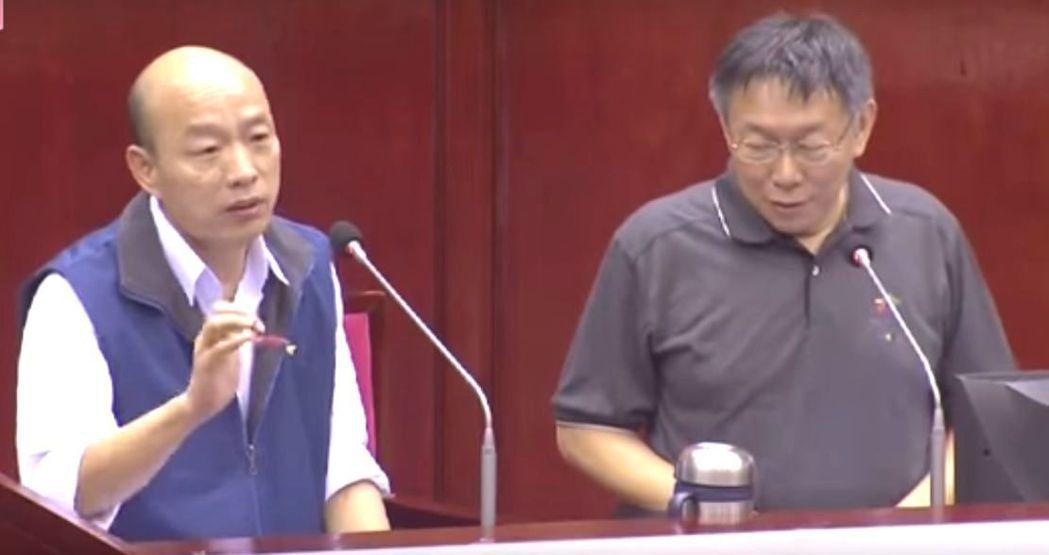 韓國瑜當北農總經理任內曾到台北市議會接受議員王世堅質詢,他一句「禿子跟著月亮走」...