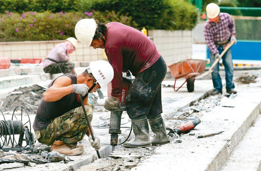 工人在室外高溫環境下工作,圖非當事人。 記者林俊良/攝影