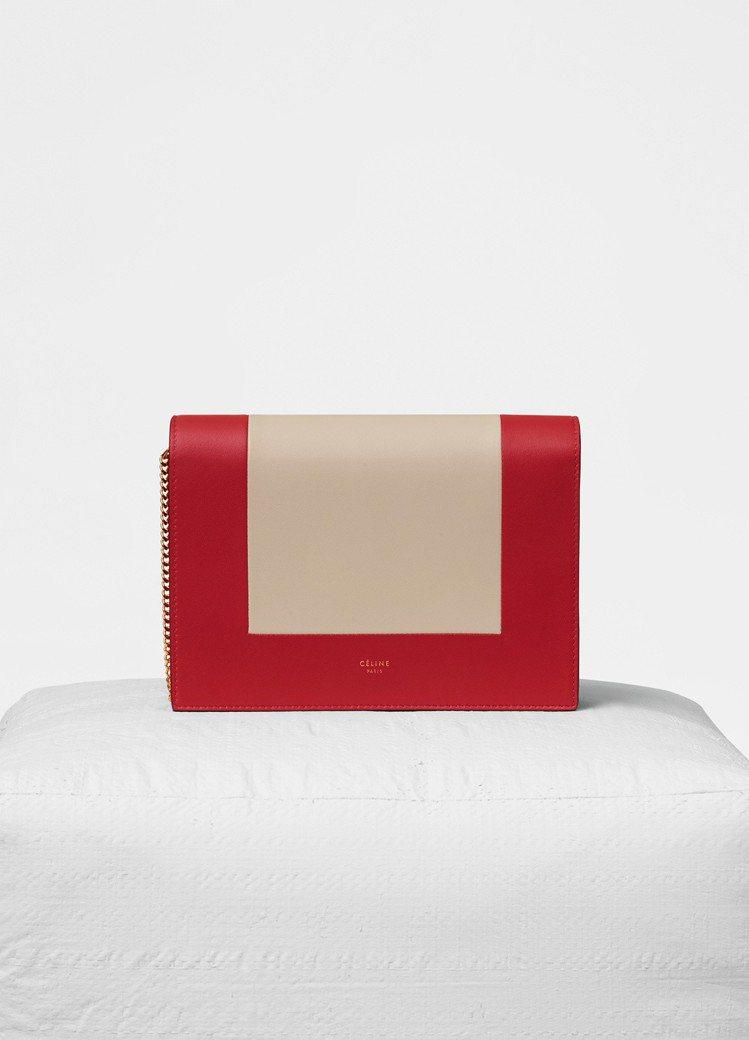 Frame紅白拼色小羊皮鍊帶手拿包,售價43,500元。圖/CELINE提供