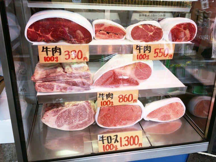 除了魚貨,築地市場也有新鮮肉品販售。 圖/朱慧芳