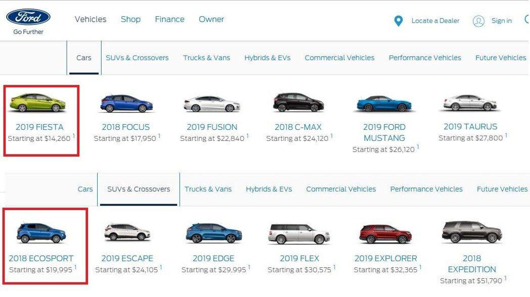 往後轎車車型將被從美國剔除。 摘自Ford