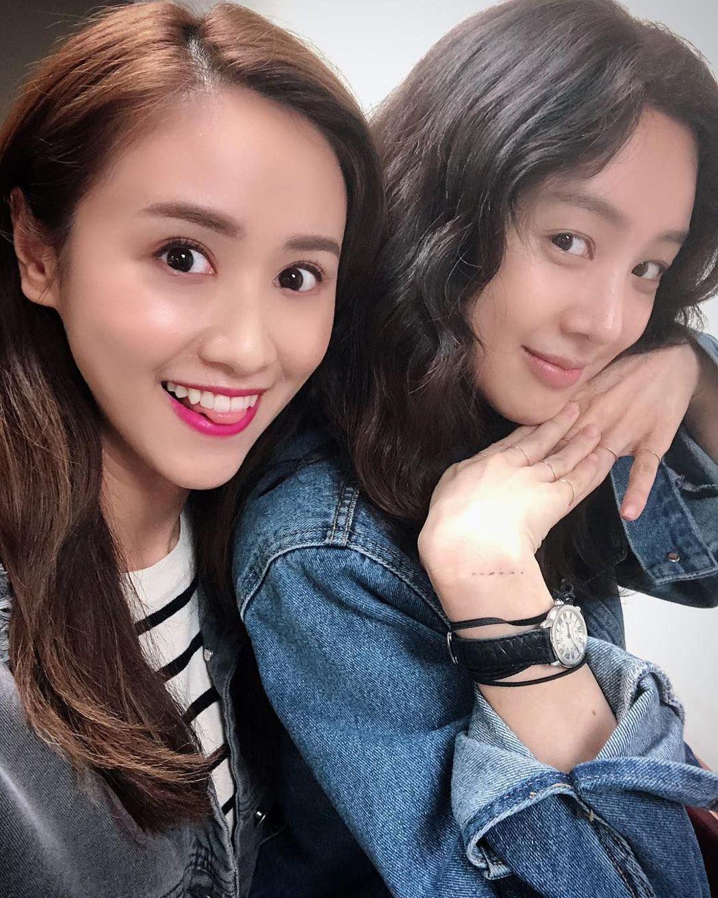 Sandy (左)和韓星鄭麗媛同框。圖/摘自ig