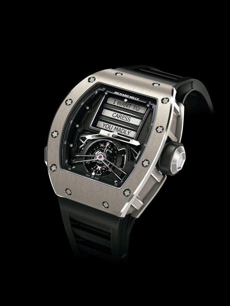 RM 69情色陀飛輪腕表,故名思義,這只表的設計便是將最隱密的意圖公諸於世。圖/...