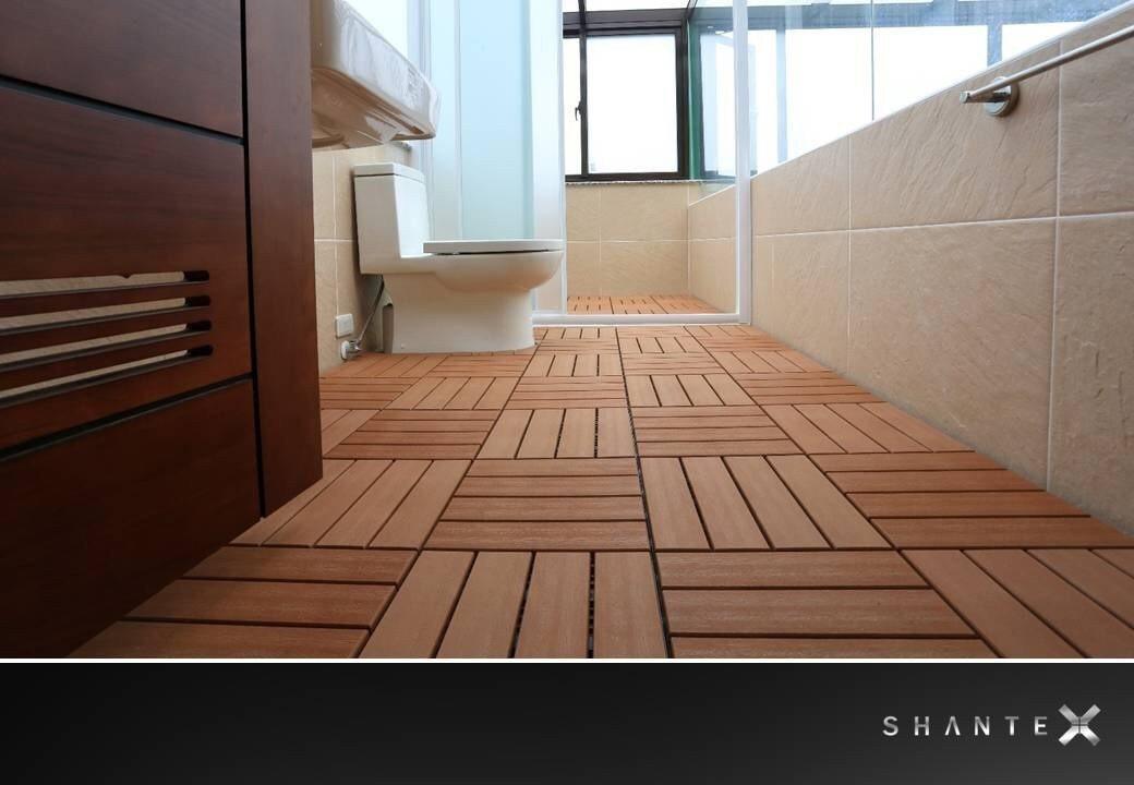 SHANTEX塑木地墊具有「愈濕愈止滑」的特性 上昀/提供