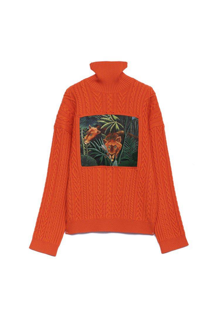 MEMENTO N°3男裝橘色叢林之夢毛衣,26,800元。圖/KENZO提供