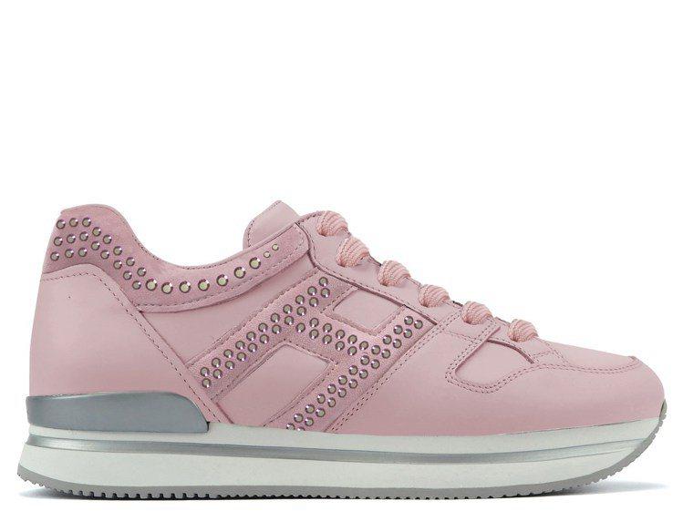 全球獨家款,101獨家販售-HOGAN H222玫瑰粉水鑽裝飾休閒鞋,20,80...