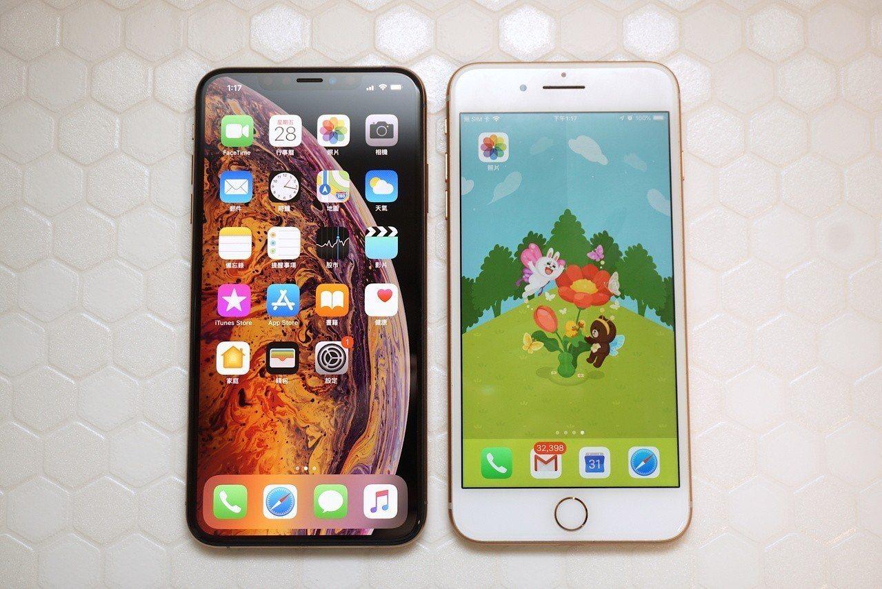 左邊6.5吋的iPhone XS Max尺寸與右邊5.5吋的iPhone 8 P...