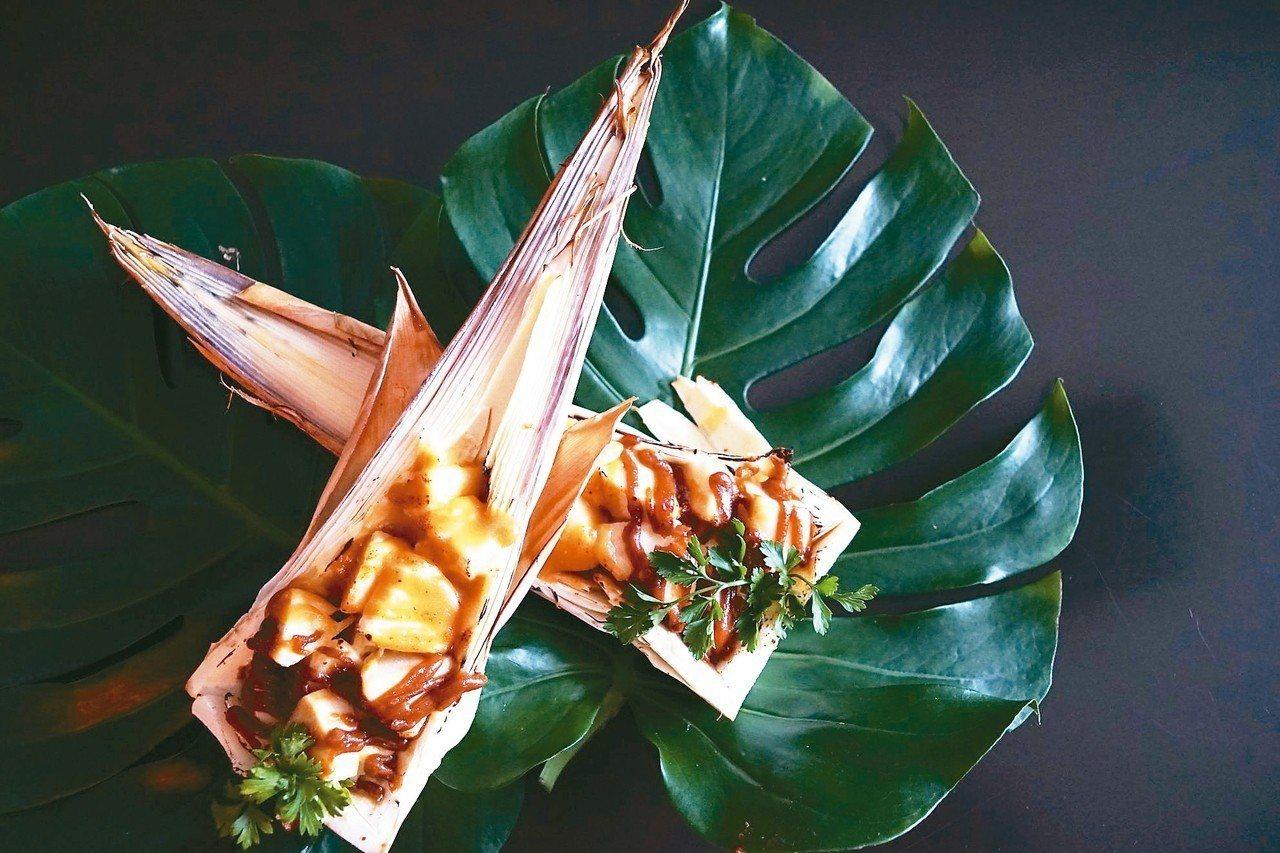 秋日菜餚「東山雙寶味噌醬起司焗山筍」。 圖/台南美食節提供
