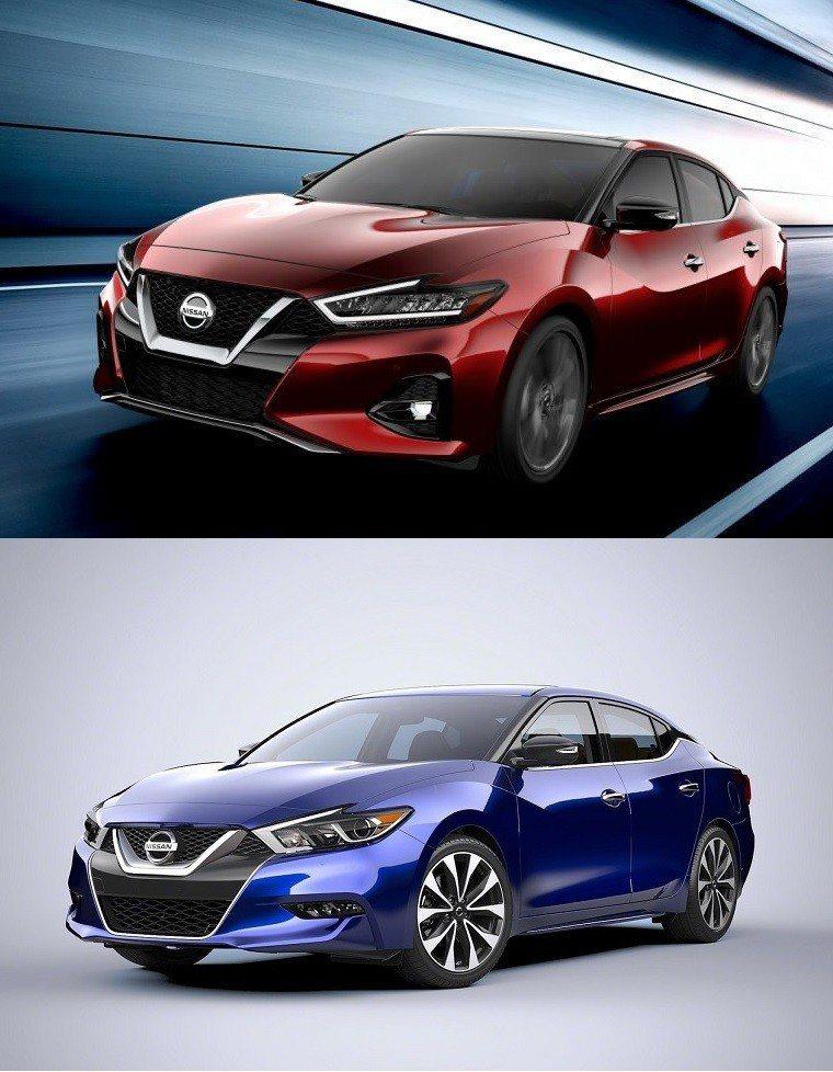 圖上:小改款後 圖下:小改款前 Maxima。 摘自Nissan