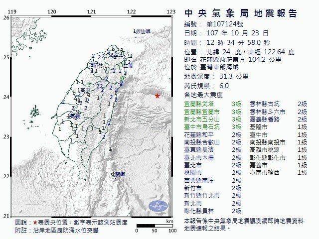今天中午發生芮氏規模6.0的地震,震央在台灣東部海域深31公里。 圖片來源/擷自...