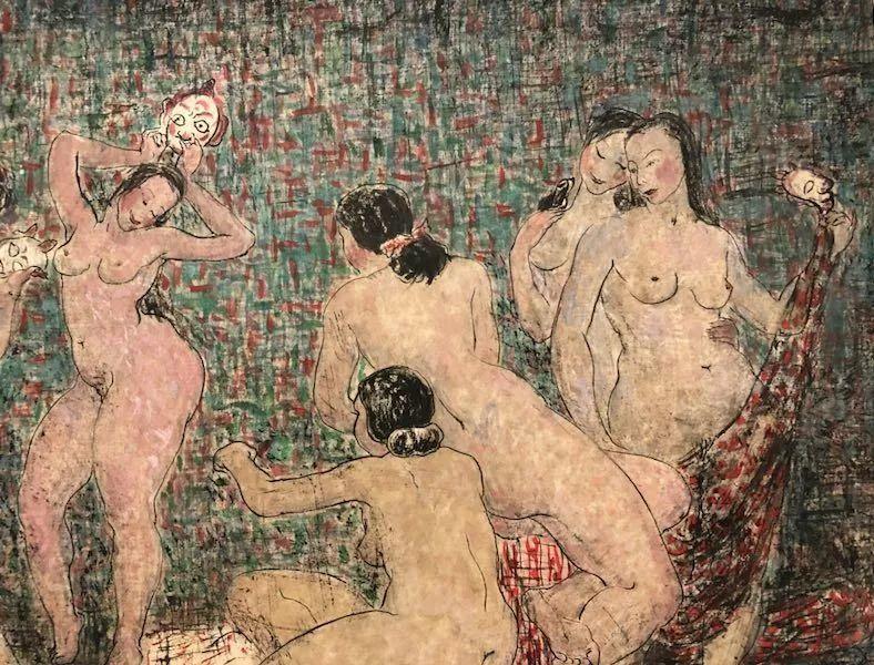 潘玉良 〈拿面具的女人體〉(局部) 紙本彩墨 安徽博物館