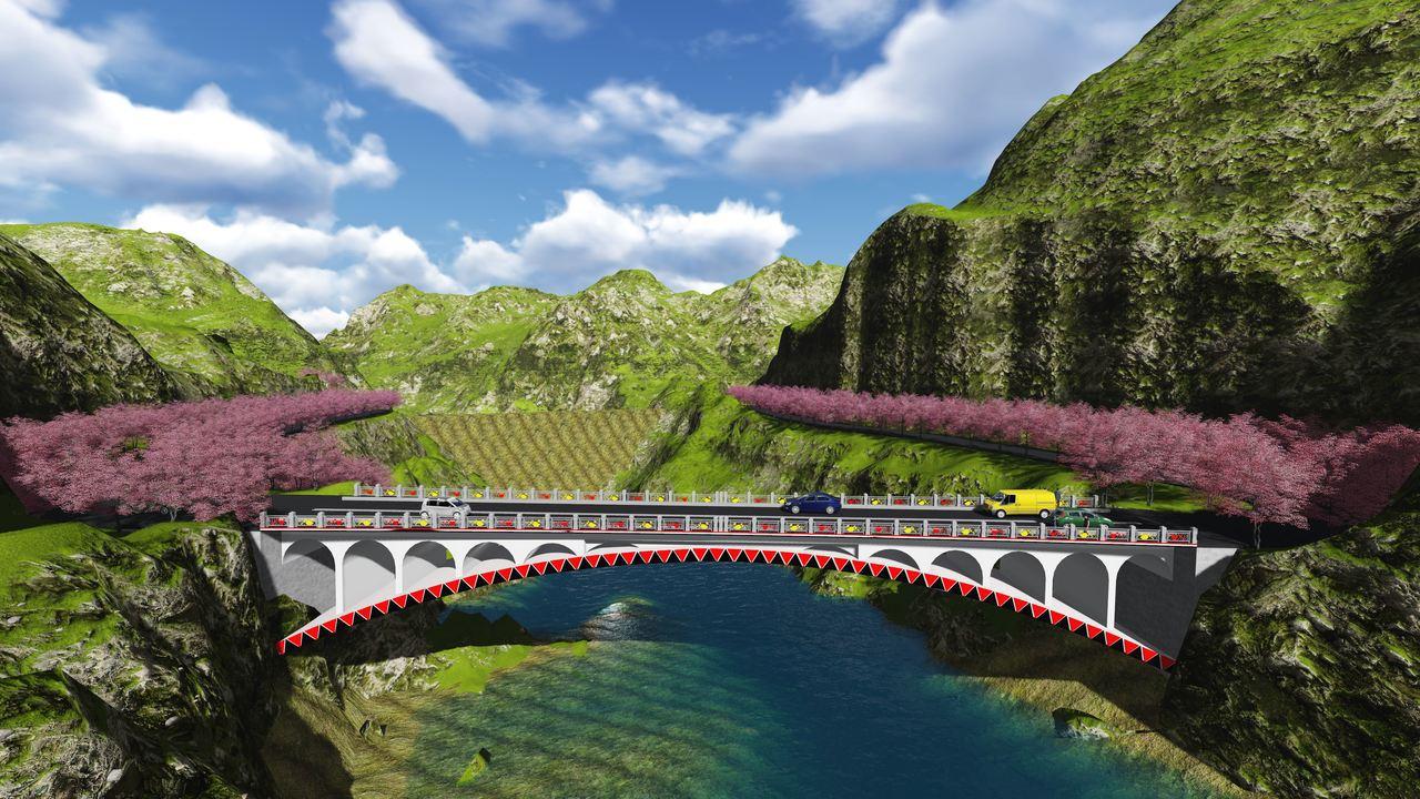 預計明年完工的「龍橋」串聯桃源少年溪兩岸交通,無橋墩設計可避免河道土石撞擊(電腦...