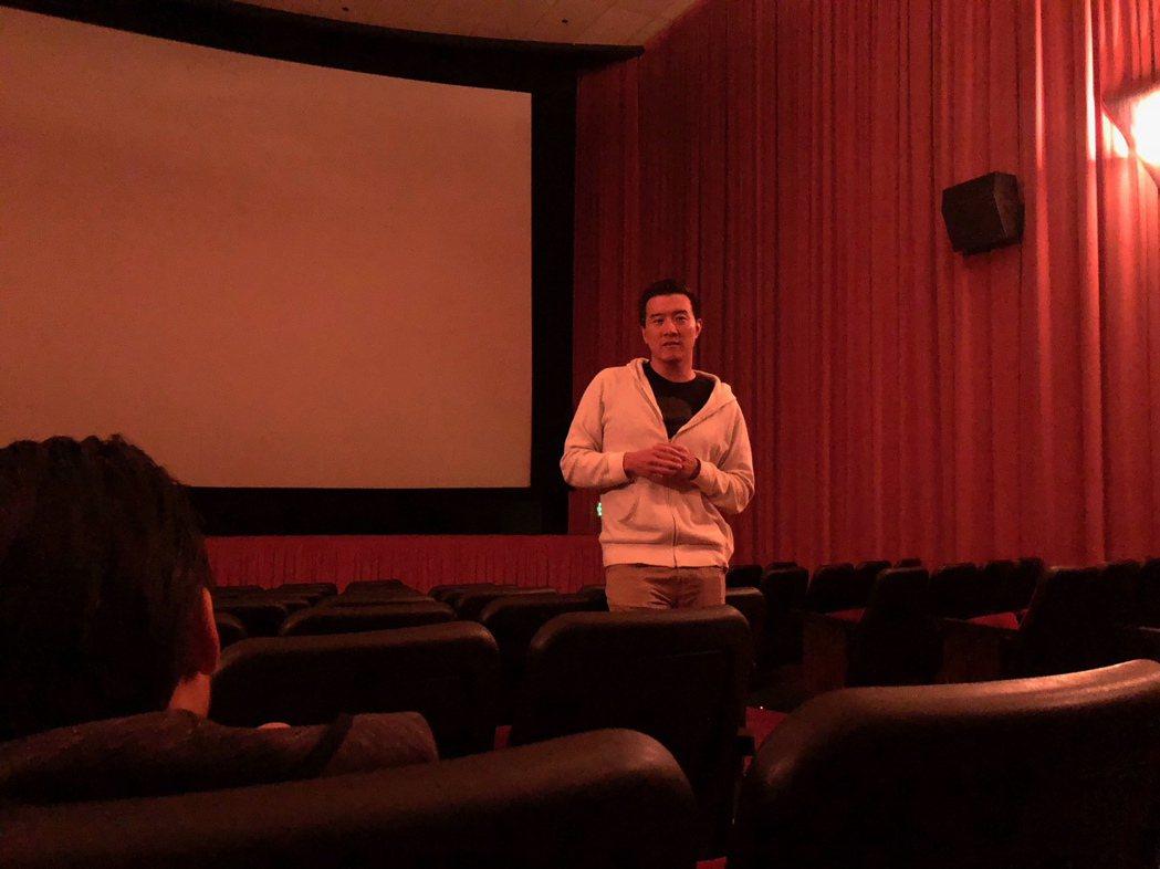 「後勁:王建民」洛杉磯上映製片楊明燊到戲院和觀眾分享。圖/WYC影視提供