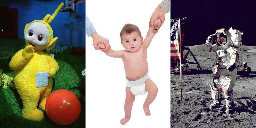 天線寶寶的設定概念:穿上太空裝的太與包著尿布的學步兒——大頭、短腿、興奮地跳來跳...