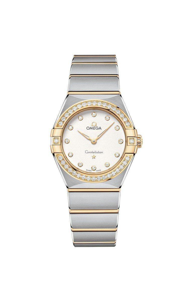 歐米茄星座系列曼哈頓腕表,不鏽鋼搭配18K金表殼、表鍊,鑲鑽石表圈,採用4061...