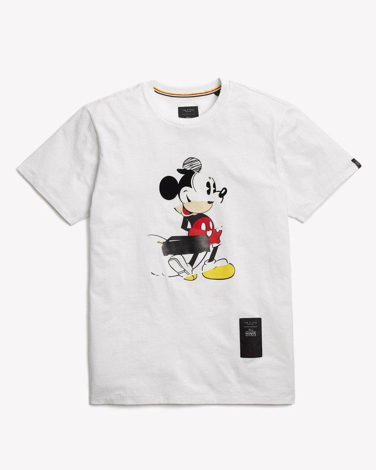 rag & bone X Micky Mouse白色MICKEY圖像拼接圓領T恤...