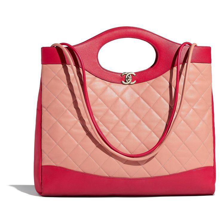 米紅雙色皮革拼接31包款,14萬1,200元。圖/香奈兒提供