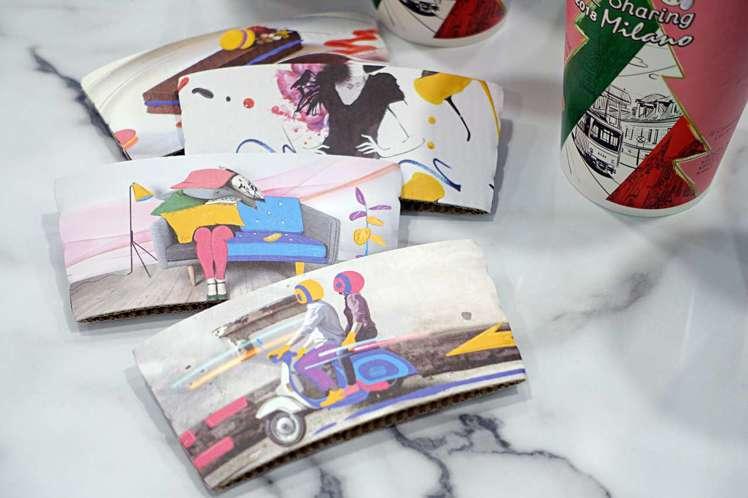 愛‧Sharing咖啡杯8色搭上4款杯套,呈現米蘭食衣住行時尚。記者沈佩臻/攝影