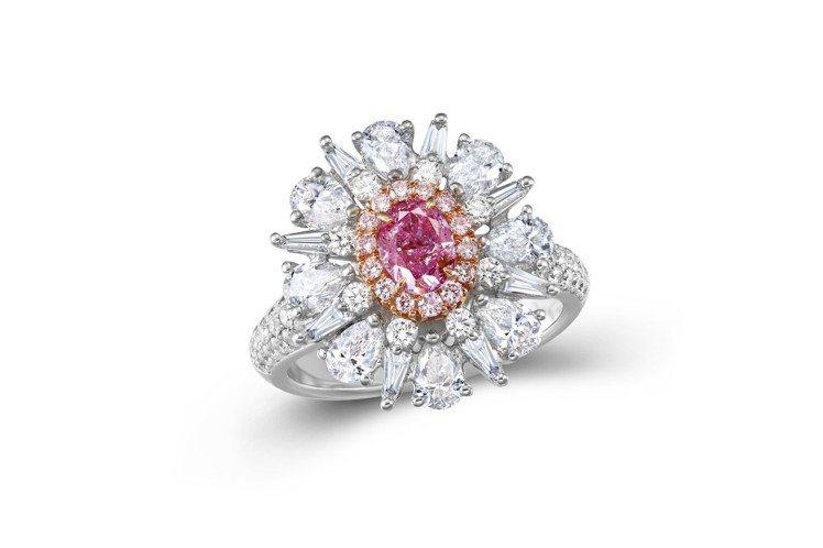 0.54克拉橢圓形Fancy Intense Pink-Purple粉紫鑽戒指,...