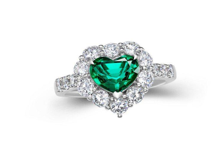 1.25克拉哥倫比亞未泡油祖母綠心形戒指,附Gübelin原版證書,巡展價128...