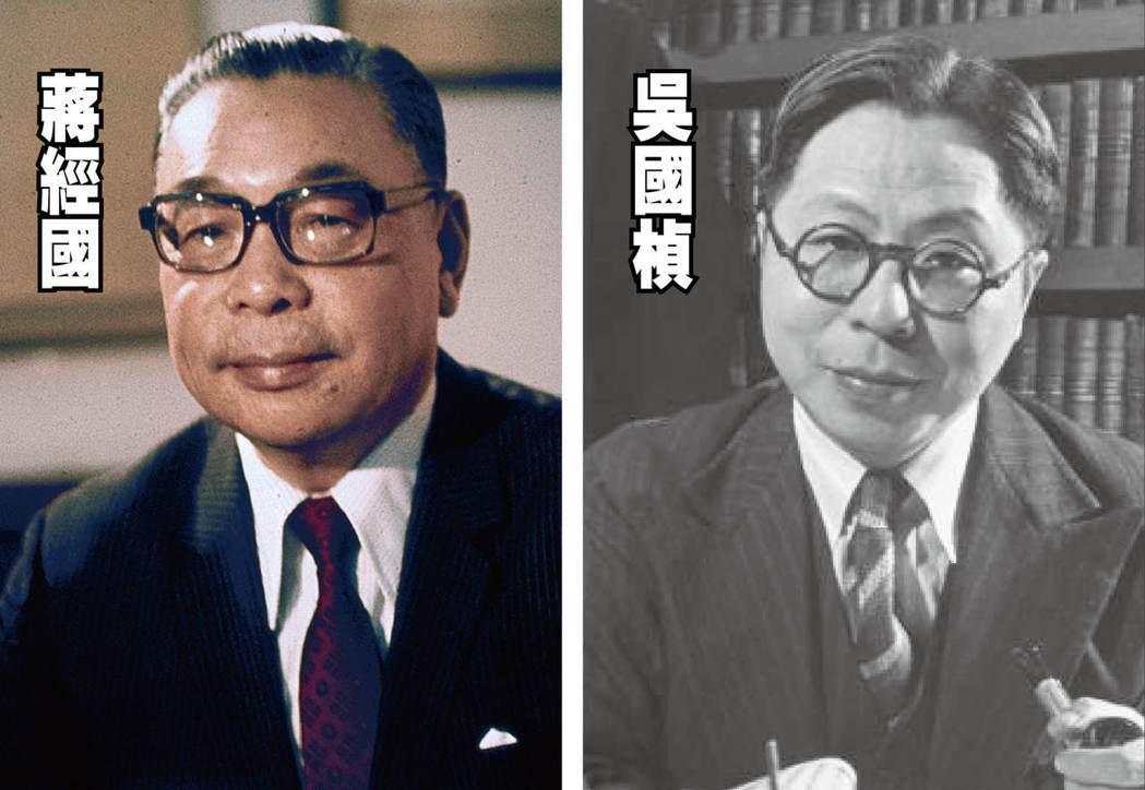 左圖蔣經國,曾任中華民國總統、陸軍二級上將。右圖吳國楨,曾任上海市市長、臺灣省主...